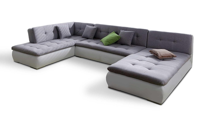 Ecksofa günstig  Ecksofa XXL in U Form grau Stoff Kunstleder Couch Eckgarnitur ...