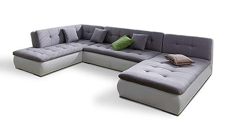 Rinconera XXL en forma de U gris plástico de sofá de esquina ...