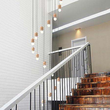Meters Lámpara de Escalera de Madera Maciza araña Larga Casa Duplex Villa Spiral Stairs Lámpara de araña de Madera de Estilo japonés (Tamaño : D 70 * 300cm): Amazon.es: Hogar