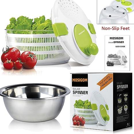 Salad Spinner Built-In Non-Slip Feet w// Free Stainless Steel Salad Bowl TM MOSIGOM