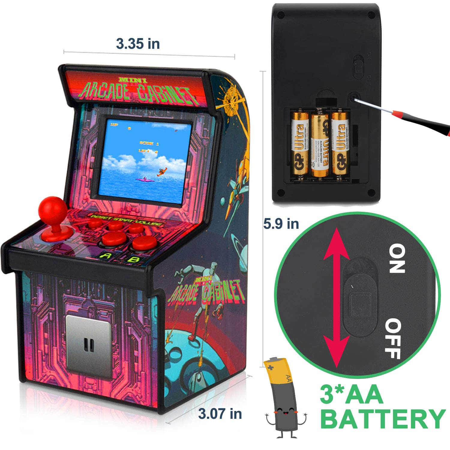 GBD Kids Mini Retro Arcade Game Cabinet Machine 200 Classic Handheld Video Games 2.5'' Display Joystick Travel Portable Game Player Kids Boys Girls Holiday Birthday Gifts Electronic Toys by GBD (Image #9)