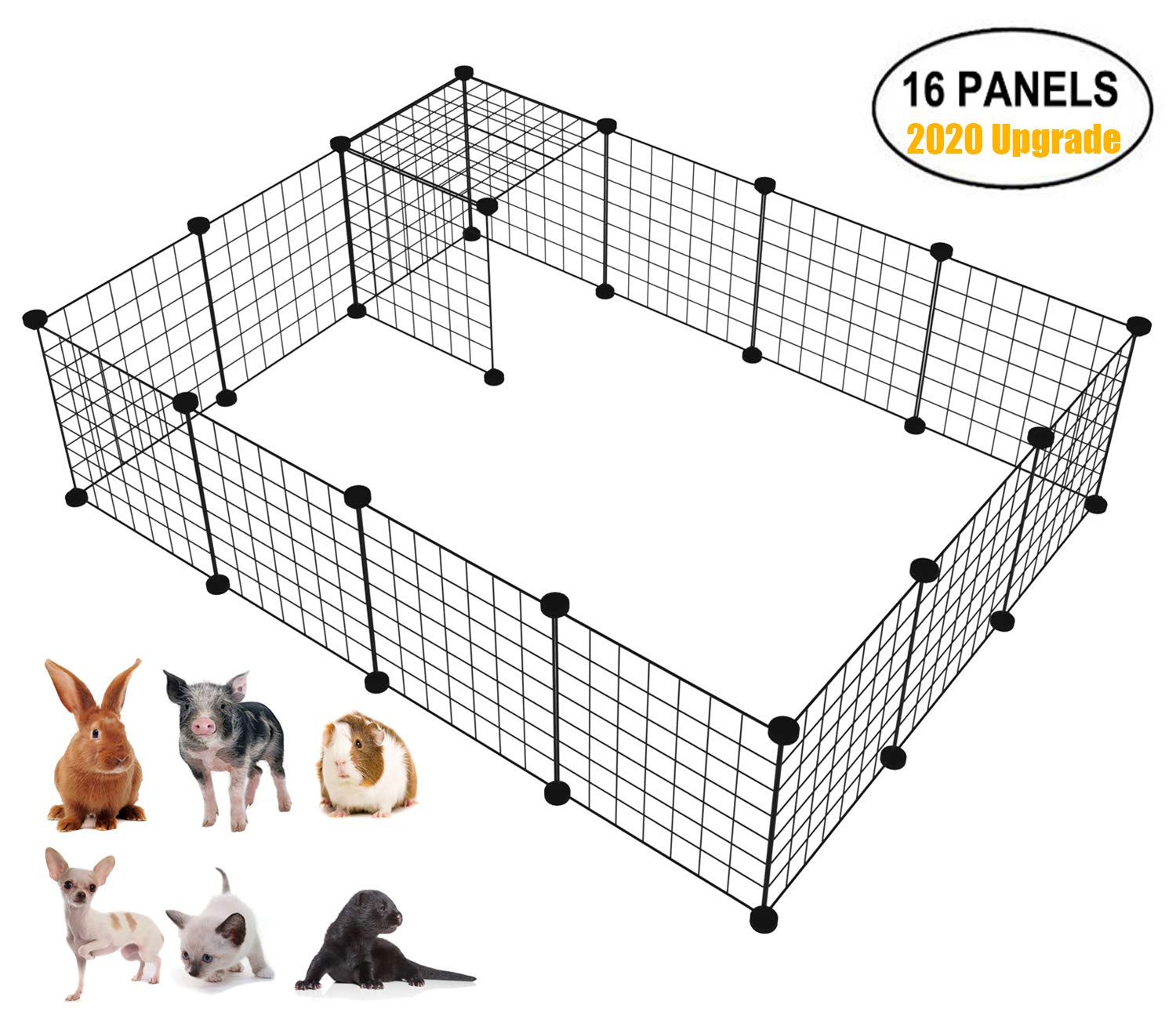 LANGXUN 16pcs Metal Wire Storage Cubes Organizer, DIY Small Animal Cage for Rabbit, Guinea Pigs, Puppy | Pet Products Portable Metal Wire Yard Fence(14'' H) by LANGXUN