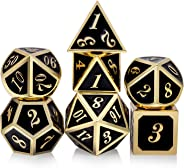 Metal Dice Set DND, 7 die Metal Polyhedral Dice Set with Metal Box Black Color and Gold Number for Role Playing Game Dungeon