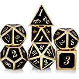 DNDND Metal Dice Set D&D, 7 die Metal Polyhedral Dice Set with Gift Metal Box and Gold Number for DND Dungeons and Dragons Role Playing Games (Black and Gold)