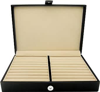 HONEY BEAR Men/Women's Cufflinks Jewelry Box - Faux Leather Display Case Storage Organizer Black, for Rings Earrings Tie Clips