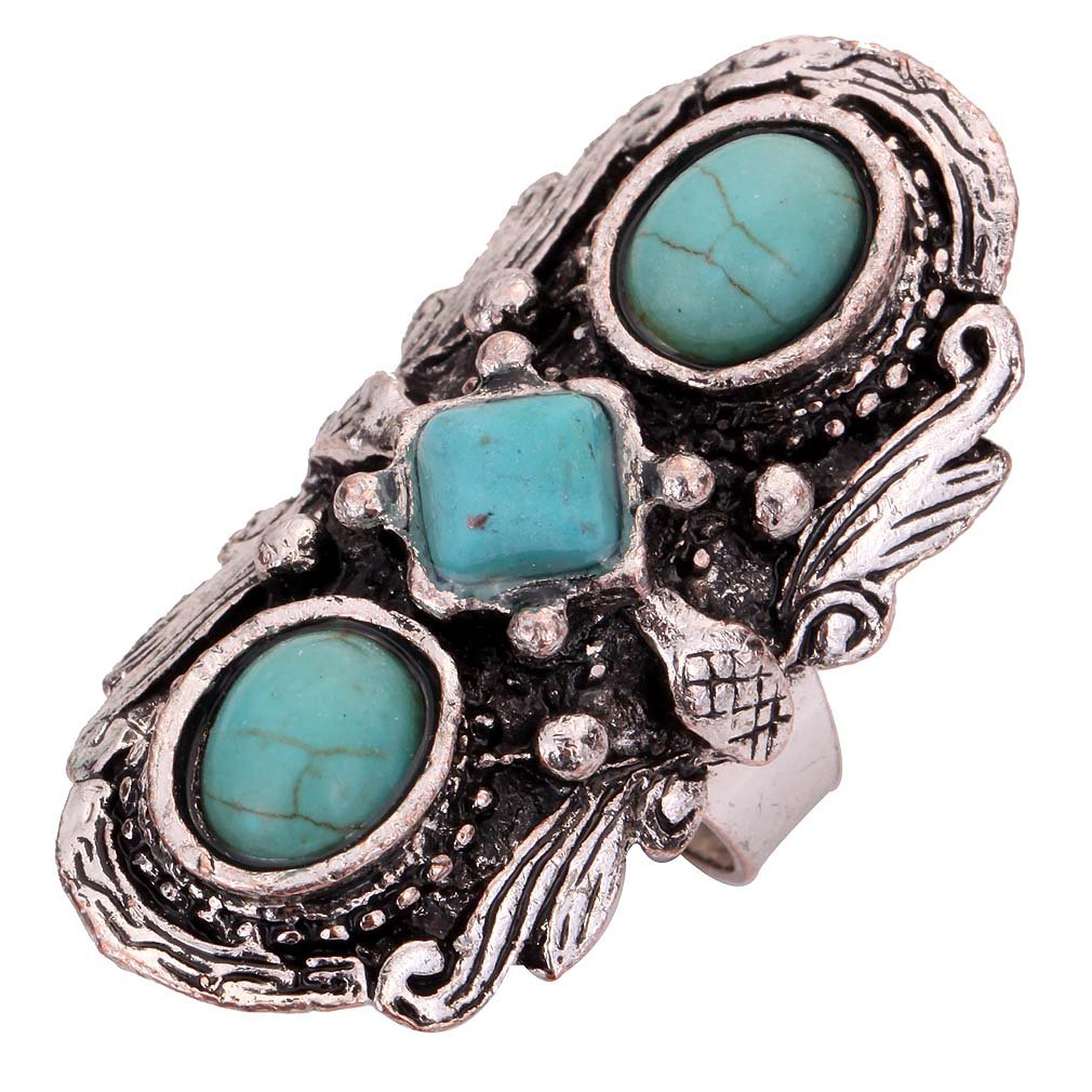 Yazilind bijoux cru rimous argent rond tibetain ethnique turquoise saisissant anneau reglable YAZILIND JEWELRY LTD 1072R0008