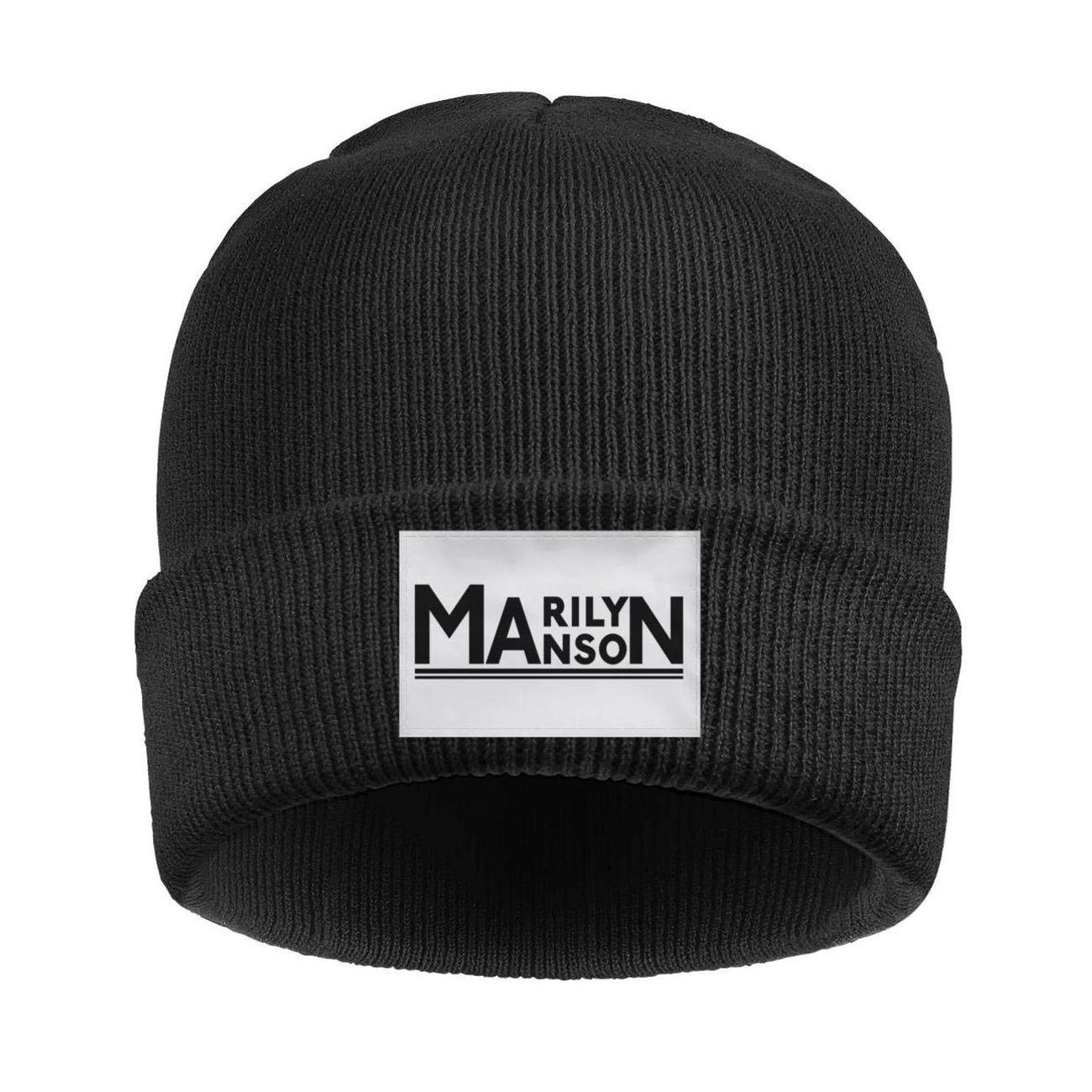 Amazon.com  Fashion Music Marilyn-Manson-Black-Logo-Black Beanie Hats Wool  Warm Knit Skull Cap  Clothing 8fcfe5441d15