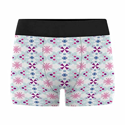 InterestPrint Custom Men's All-Over Print Boxer Briefs Christmas Pattern with Snowman and Snowflakes (XS-3XL)