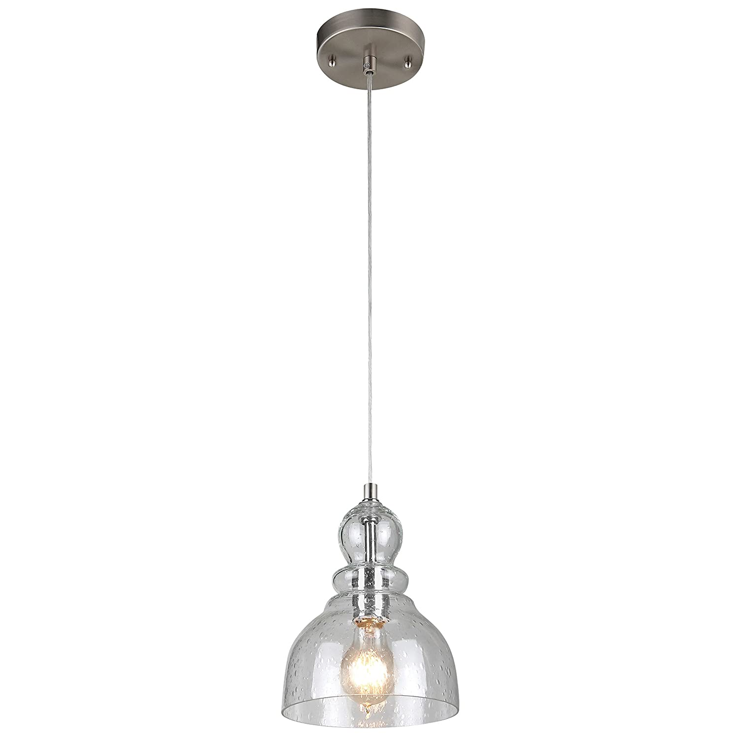 Satin Nickel Pendant Light Part - 43: Westinghouse 6100700 Industrial One-Light Adjustable Mini Pendant With  Handblown Clear Seeded Glass, Brushed Nickel Finish - - Amazon.com