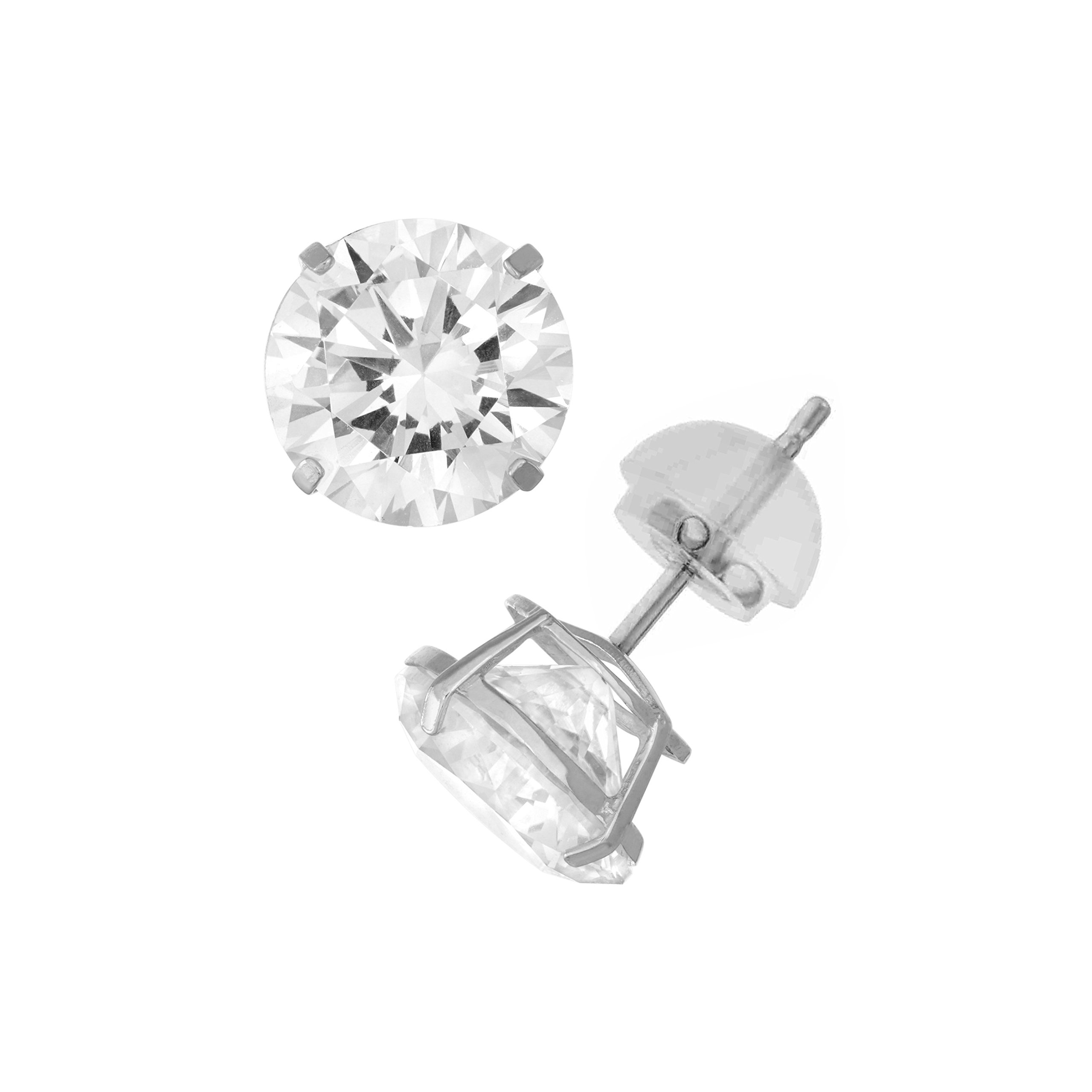 14K White Gold Round Swarovski CZ Stud Earring Comfort Fit 4mm
