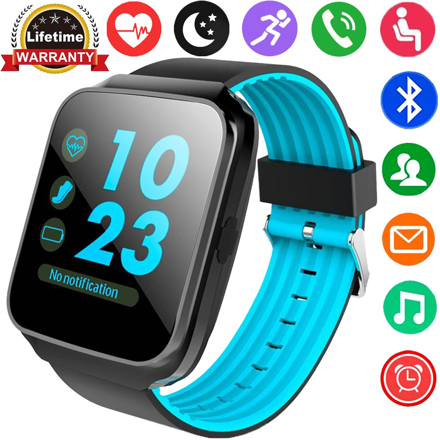 Fitness Tracker Smart Watches Heart Rate Blood Pressure Monitor Men Women Kids Boys Girls Gift Sport Watch GPS Tracker Pedometer Stopwatch Calorie Outdoor Wristband (Blue)