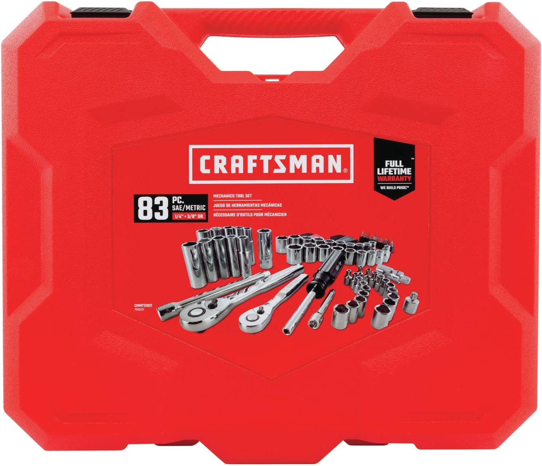 SAE // Metric 1//4-Inch Drive CRAFTSMAN Mechanics Tool Set CMMT12021 83-Piece