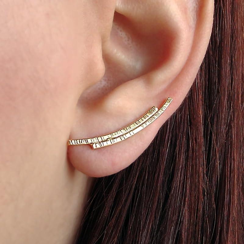 Simple Minimalist 24K Gold Vermeil Hammered Ear Climbers Earrings