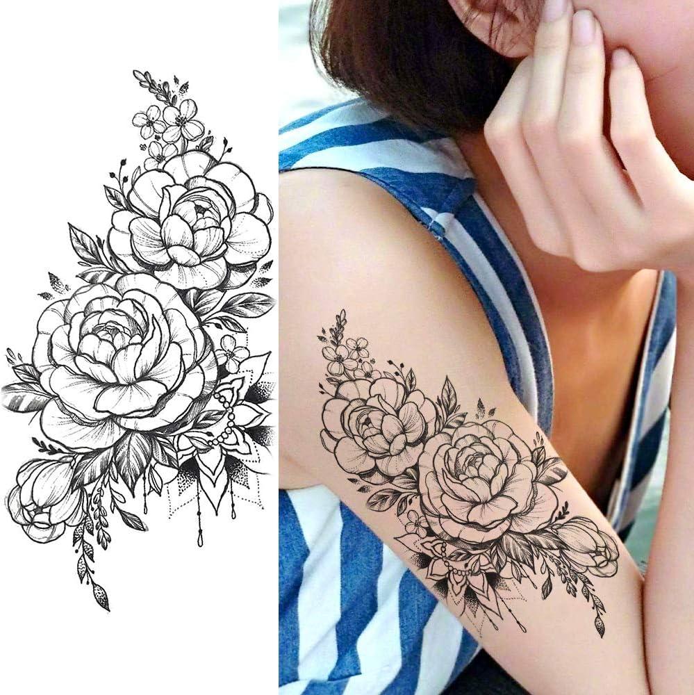 LAROI 9 Hojas Flor Realista Peonía Tatuajes Temporales Pegatinas ...