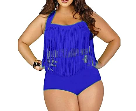 e0647ca3f9 Qbl Sexy Women's Plus Size High Waist Two Piece Fat Tassel Swimsuits Bikini  Set,XXXX