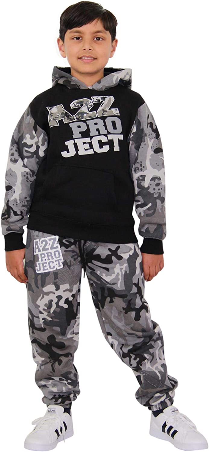 Kids Boys Girls Tracksuit A2Z Camouflage Contrast Hooded Top Bottom Jogging Suit