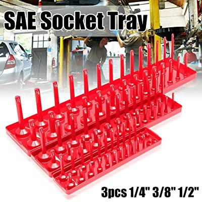 2 sets 1//4-in and 3//8-in magnetic Socket Organizer Tray holder rail rack storage
