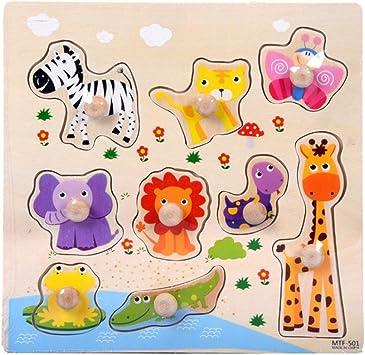 Fossrn Infantiles Puzzles De Madera con Marco Juguetes de Bebé Niños Niña Fondo Animales Coche Rompecabezas Puzzles (D): Amazon.es: Juguetes y juegos