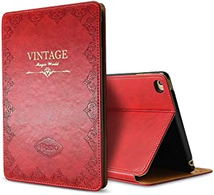 Miniko iPad Mini 4 Vintage Pattern Protective Case, (TM) [Book Style] Classic Case Cover Vintage Premium PU Leather Smart Case Auto Sleep Wake Slim Fit Multi Angle Stand for Apple iPad Mini 4 Red