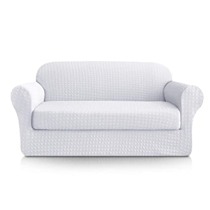 Stupendous Subrtex 2 Piece High Stretch Sofa Slipcovers Durable Soft Jacquard Embossed Fabric Machine Washable Sofa Covers 3 Seater Sofa White Pdpeps Interior Chair Design Pdpepsorg
