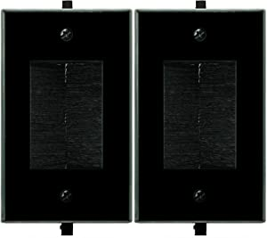 Recessed Low Voltage Cable through Brush Wall Plate,Yomyrayhu,Easy to Mount Outlet,Cable Management Pass Through Wall Plate,Works Great with Audio/Vedio,HDMI,Home Theater and More,Black(2 Pack)