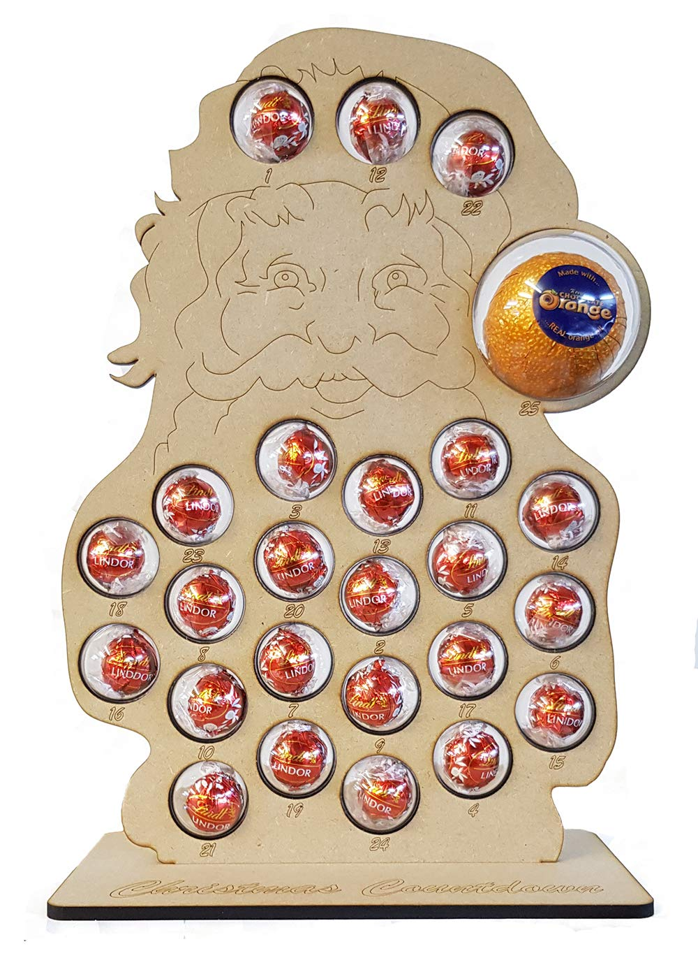 Mooseys Santa Claus Christmas Advent Calendar with Stand for Chocolate Orange & Lindt, includes Baubles (Countdown to Christmas) Mooseys Ltd