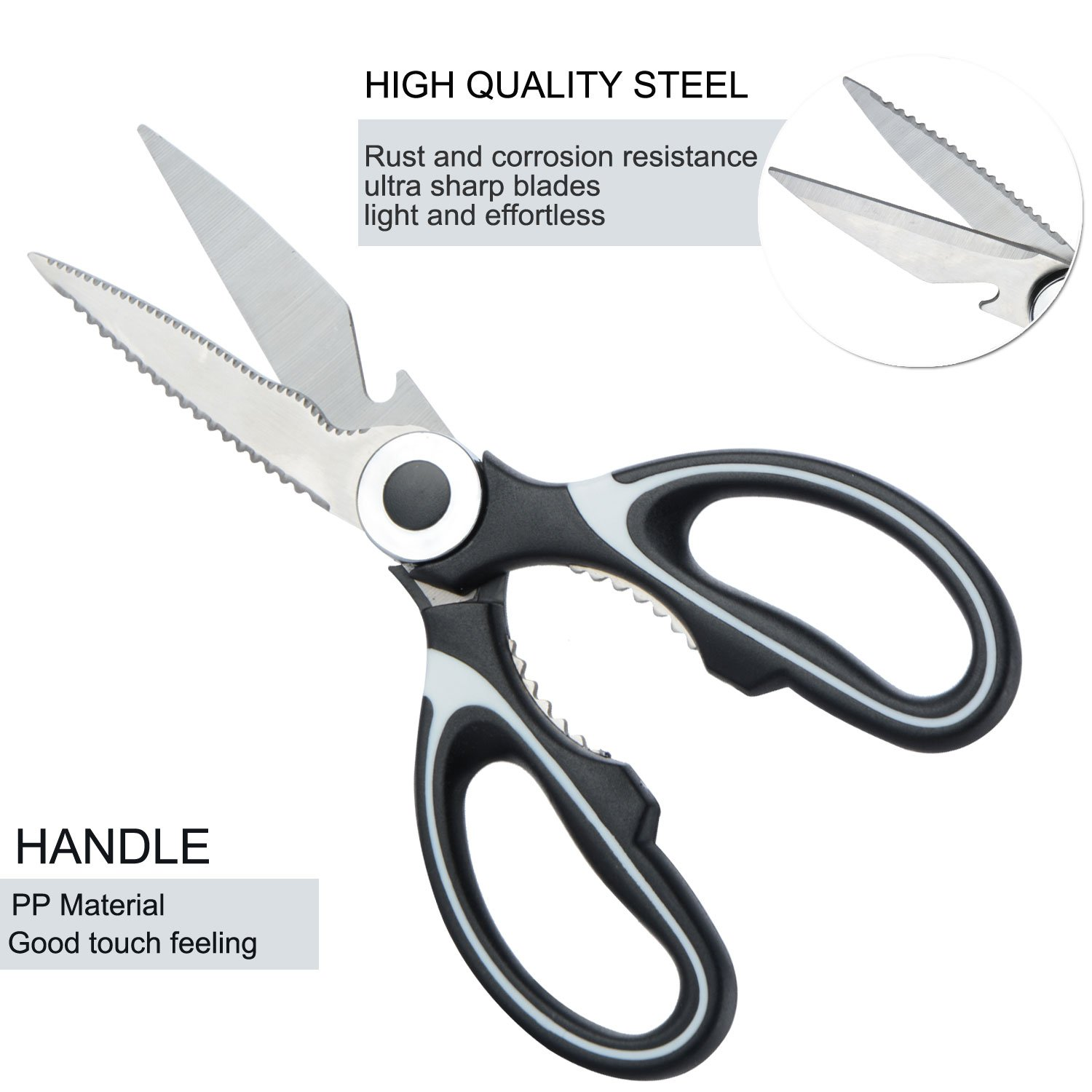 Doolland Kitchen Shears , Stainless Steel Multi-Function Kitchen Scissors with Blade Cover for Chicken, Poultry, Fish, Meat, Vegetables, Herbs, BBQ