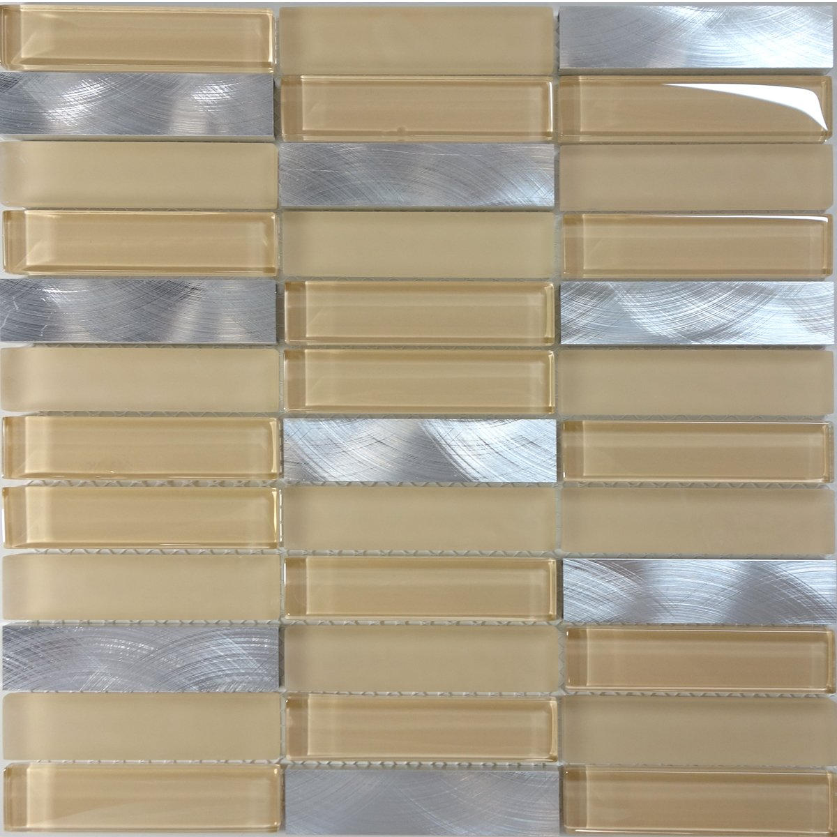 Modket TDH222MO Modern Cream Beige Crystal Glass Blended Metallic Aluminum and Matted Glass Mosaic Tile Backsplash