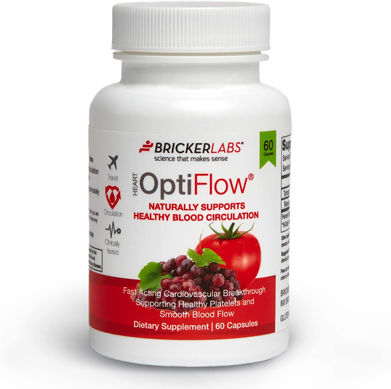 Bricker Labs OptiFlow 60ct - Naturally Supports Healthy Blood Circulation and Healthy Heart │ Works Within 90 Minutes │Gluten Free, Non- GMO, Vegan , Vegetarian │ with FruitFlow & Resvida