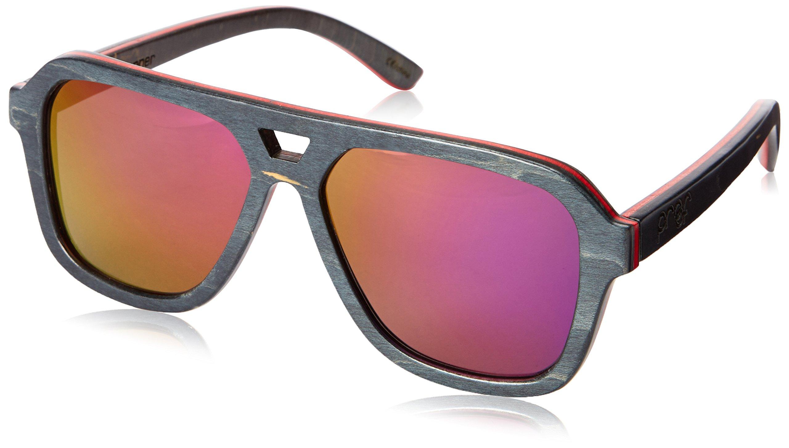 Proof Donner Skate Polarized Aviator Sunglasses, Black,Red & Black, 55 mm