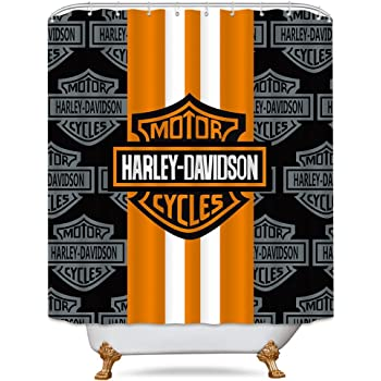Cdcurtain Motorcycle Racing Waterproof Shower Curtain Alphabet Letter Decor Fabric Bathroom Set Polyester Orange Black 70 X70 Inches With 12 Pack Plastic