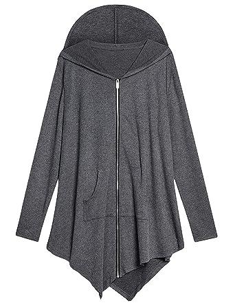e0b119a09ab AMZ PLUS Women Plus Size Lightweight Full Zip Up Hooded Sweatshirt Hoodie  Jacket Dark Grey XL