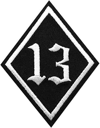 Lucky 13 Black-White Biker Logo Sew//Iron On Patch Embroidered applique