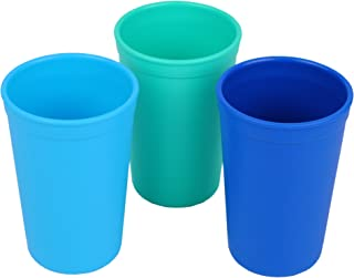 product image for Re-Play 3pk - 10oz. Drinking Cups | Made in USA from Eco Friendly Heavyweight Recycled Milk Jugs - Virtually Indestructible | for All Ages | Sky Blue, Aqua, Navy Blue | True Blue