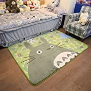 Ikeelife Cartoon TOTORO Skid-proof Washable Big Carpet Kids Nursery Entertainment Floor Area Rugs Baby Crawling Mat For Living Room/Bed Room Green,130x185cm/51.22 x72.89