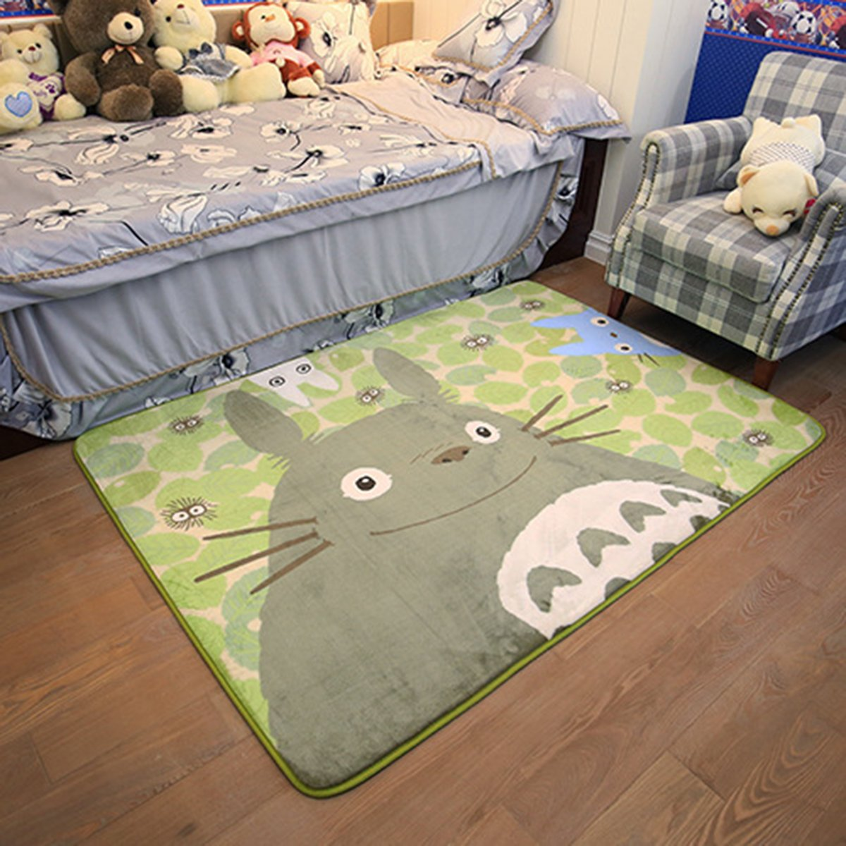 EKEA-Home Cartoon TOTORO Skid-proof Washable Big Carpet Kids Nursery Entertainment Floor Area Rugs Baby Crawling Mat For Living Room/Bed Room Green,50x120cm/19.7''x47.28''