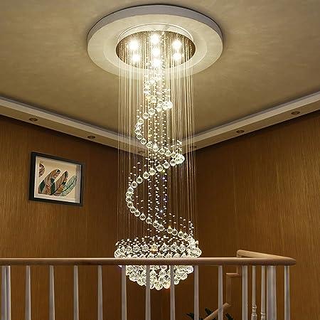Candelabros Lámpara de araña de Cristal Sala de Estar Araña de Escalera dúplex Moderna Escaleras de Caracol Escalera Lámpara de araña Larga Decoración hogareña (Tamaño : 40 * 120cm): Amazon.es: Hogar