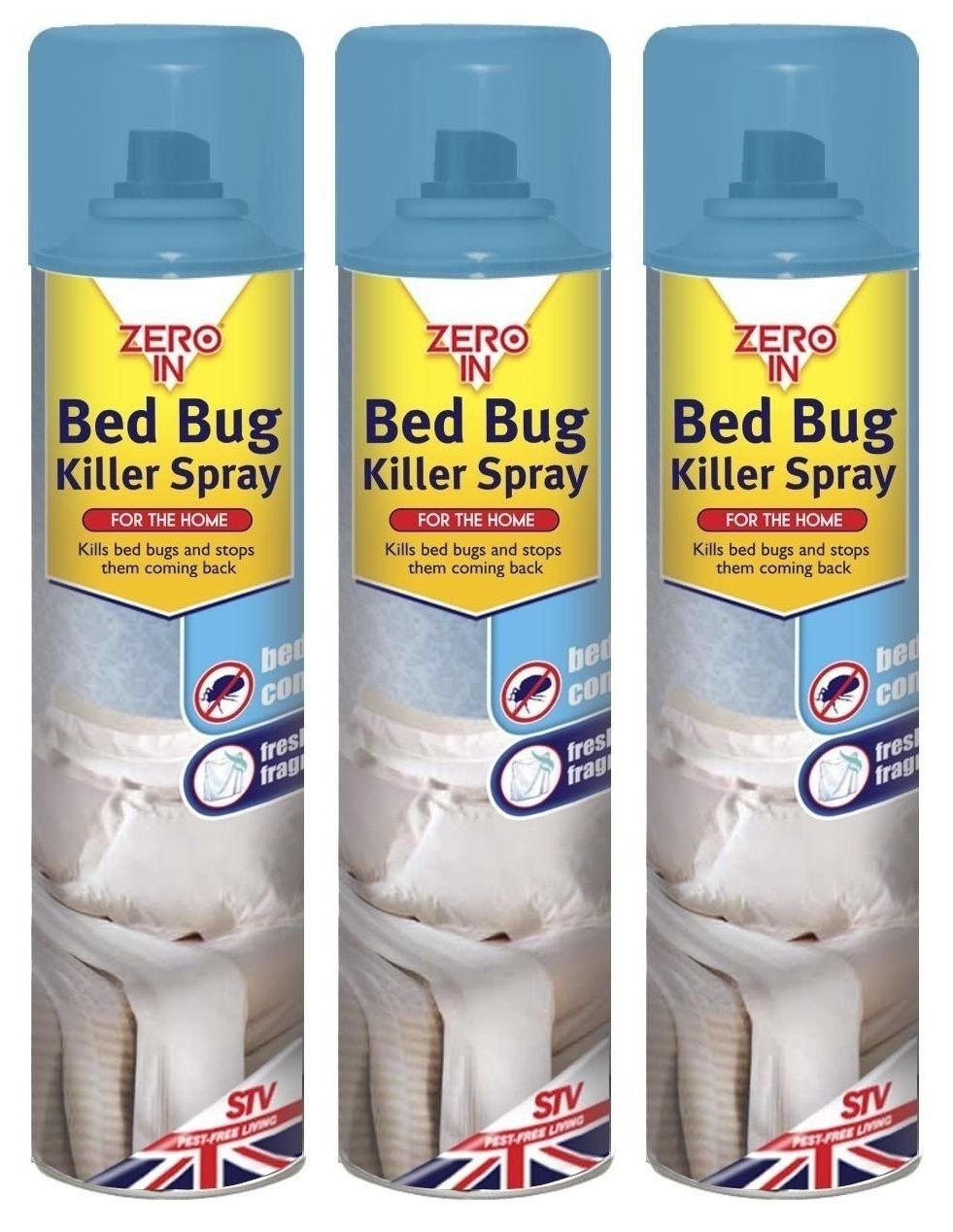 3 x Zero In Pest Bed Bug Control Killer Spray Linen Fragrance Home Bed 300ml STV