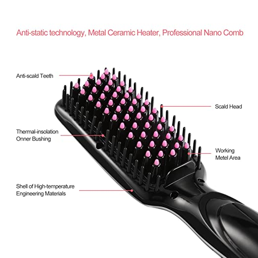 Amazon.com : Hair Straightening Brush, U-Kiss PTC Quick Heated Ceramic Straightener Comb with Adjustable Temperature and LCD Display, Fast Natural Straight ...