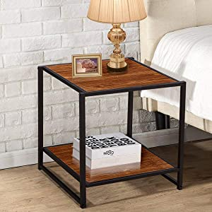 VECELO Modern Square End Table/Side Table/Night Stand with Storage Shelf