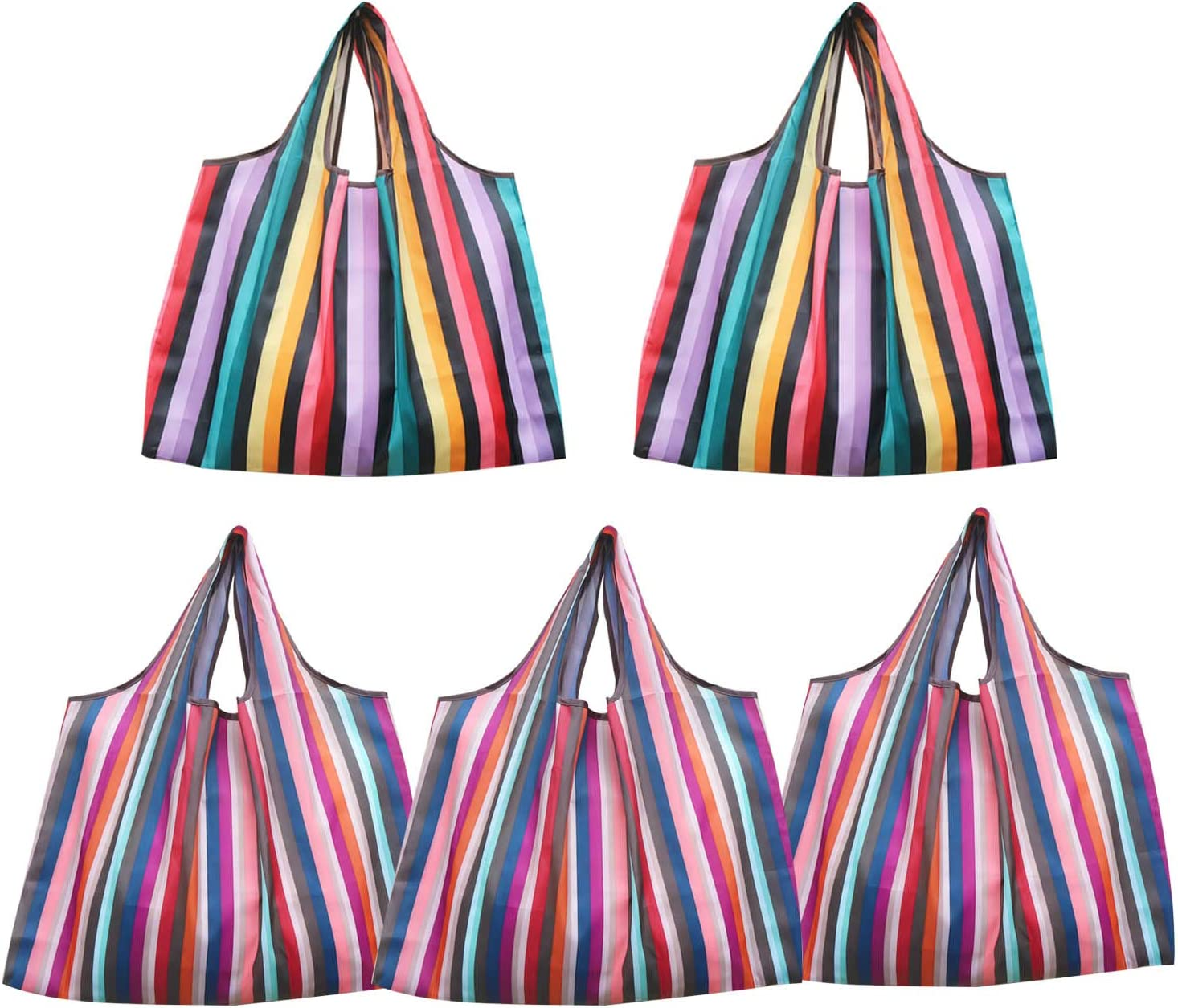 Reusable Shopping Bags,5 Pack Rainbow Prints Grocery Bags Heavy Duty Foldable and Washable Nylon Tote with Attached Pouch