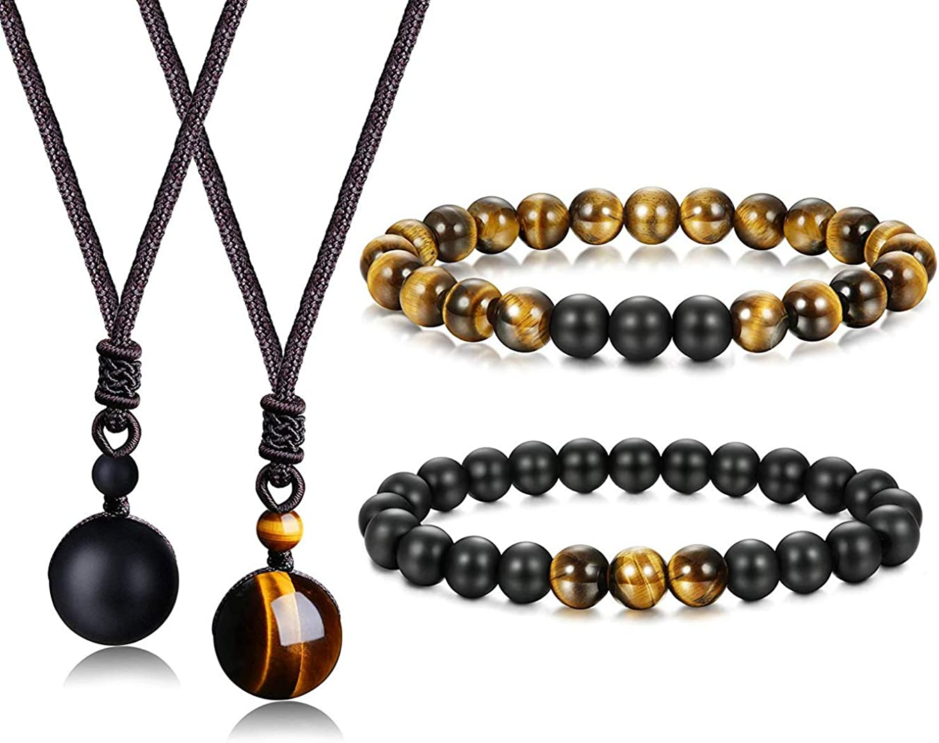 Besteel Ojo de Tigre Perlas Collar para Hombres Mujer Onyx Natural Piedra Colgante Pulseras Collar Conjunto Distancia Relación Ajustable Curación Collares