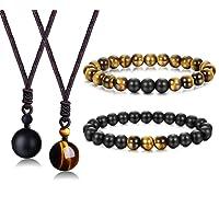 BESTEEL Oeil de Tigre Perles Collier Bracelet pour Hommes Femmes Onyx Naturel Pendentif en Pierre Bracelets Collier Ensemble de Relation Distance Réglable Colliers de Guérison