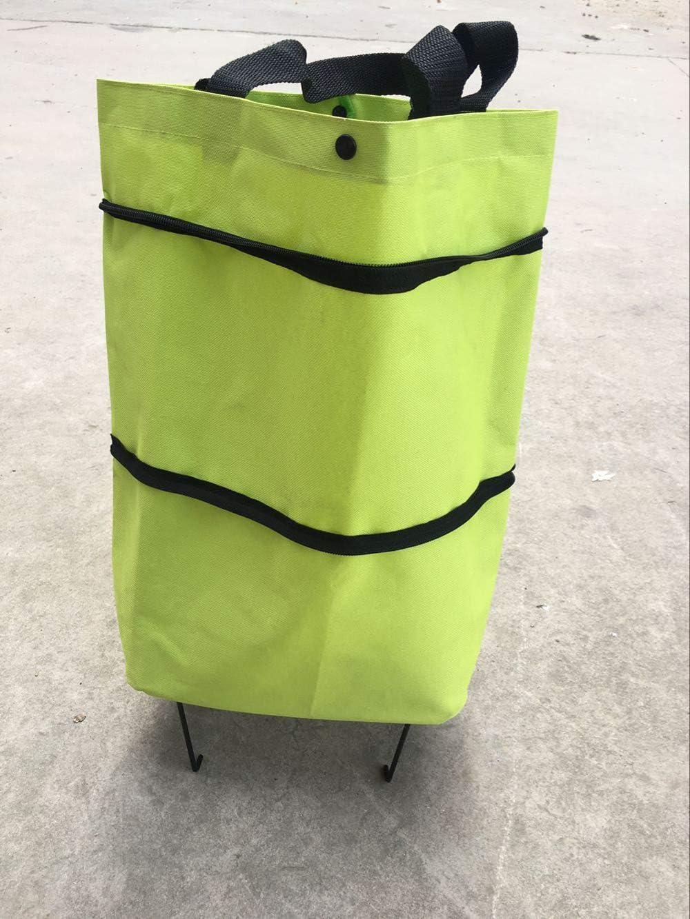 Galapara Cabas Shopping Ultra l/éger Capacit/é de 2 Roues pour Chariot /à Bagages,Portable Multifonctionnel Oxford Folable Fourre-Tout Sac /à provisions r/éutilisable Sac de Chariot /à achats