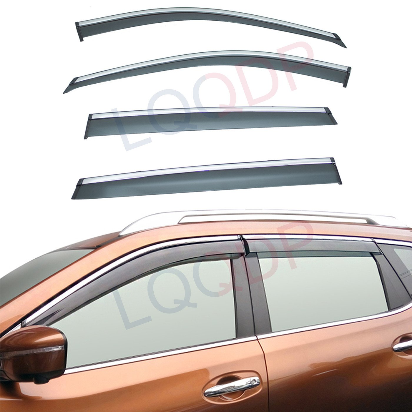 LQQDP 4pcs Smoke Tint With Chrome Trim Outside Mount Tape On//Clip On Style PVC Sun Rain Guard Vent Shade Window Visors Fit 14-18 Nissan X-Trail//Rogue