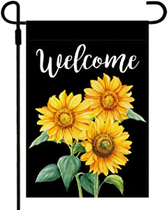Doncida Sunflower Welcome Garden Flag Double Sided Watercolor Sunflowers on Black Background, Burlap Yard Flag Seasonal Summer Fall Outdoor Decoration 12.5 x 18 Inch