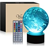 3D Led Night Light Remote Control Table Desk Lamps,Elstey 20 Color Changing Optical Illusions Lamp Acrylic Panel & Wooden Base Light for Holiday Gifts (Earth)