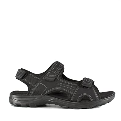 Mens Sandal Wider Fitting Touch Fasten Sandal in Black by Sprox