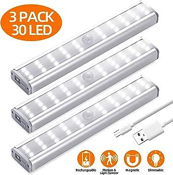 30 LED USB Rechargeable PIR Motion Sensor Closet Night Light Under Cabinet Lamp