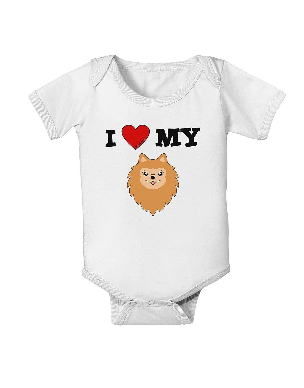 Cute Pomeranian Dog Baby Romper Bodysuit TooLoud I Heart My